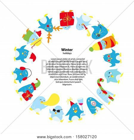 Round frame with cute vector penguins, happy penguin on christmas holiday party.