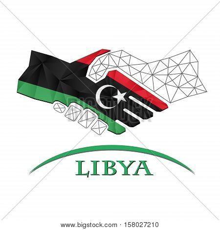 Handshake logo made from the flag of Libya.