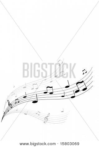 Flying music on white background. Vector art.