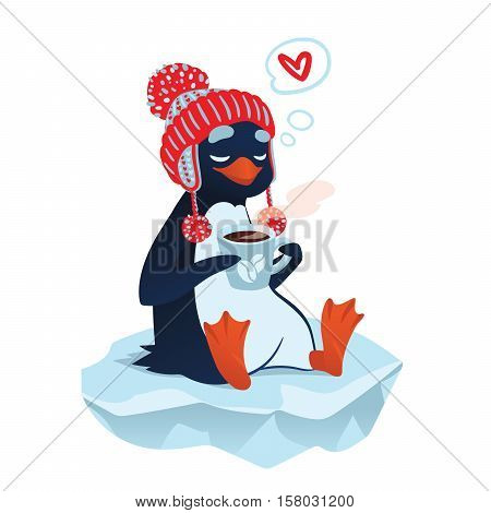Cute cartoon penguin in funny hat with cup of coffee on an ice floe thinking about love. Vector illustration of cute penguin in love with coffee in flat cartoon style for your design.