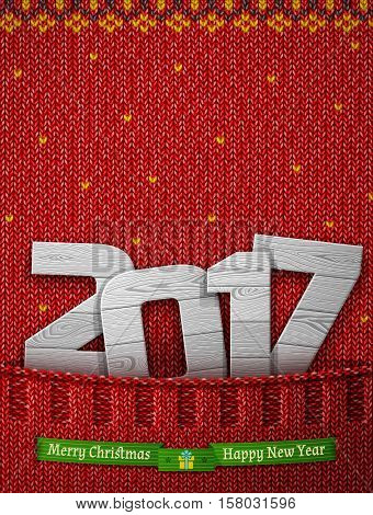 New Year 2017 of wood in knitted pocket. Jumper fragment with wooden year number and christmas wishes. Vector illustration for new years day christmas winter holiday new years eve silvester etc