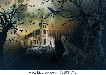 Haunted Castle with Dark Spooky Atmosphere. Haunted Scene House.