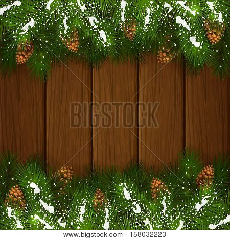 Winter decorations, Christmas theme with pinecone, decorative spruce branches with pine cones and snow on a wooden background, illustration.