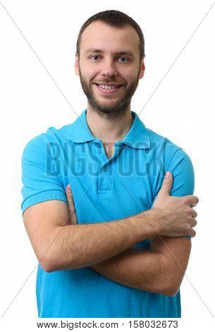 Casual Bearded Man Wearing Polo Shirt Smiling
