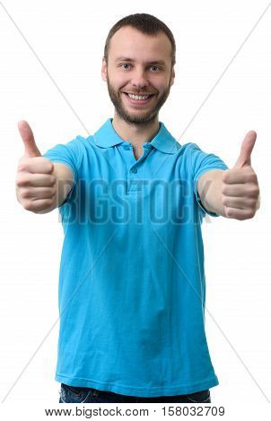 Smiling Bearded Man Showing His Thumbs Up