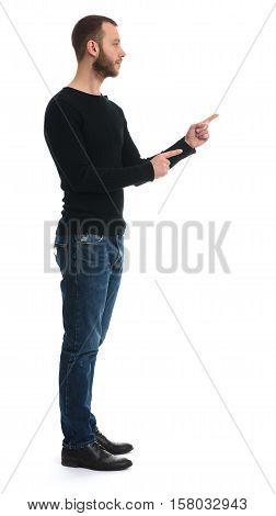 Full Length Of Bearded Guy Pointing Finger To Something