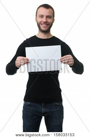 Toothy Smiling Man Showing A Blank Paper Sheet