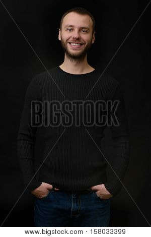 Smiling Bearded Dude Over Black Background