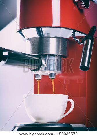 Red Espresso Coffee Machine Is Making A Coffee