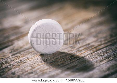 Round Pills Paracetamol Or Aspirin