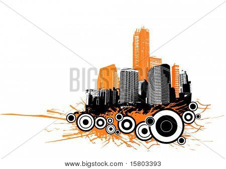 Skyscrapers with circles and orange splash. Vector