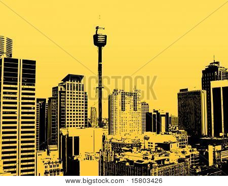 Silhouette of skyscrapers with yellow background. Vector
