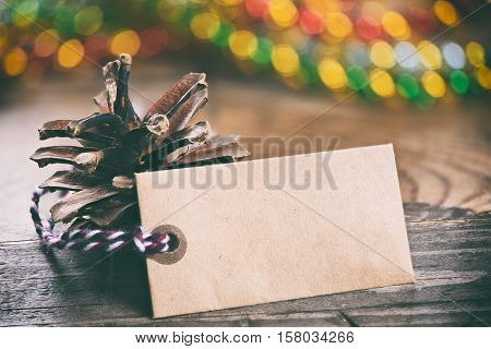 Christmas Still Life. Pine Cones And Blank Tag