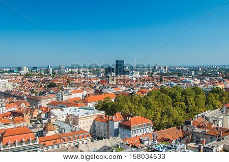 Panoramic view of Zagreb center and modern business towers, urban skyline