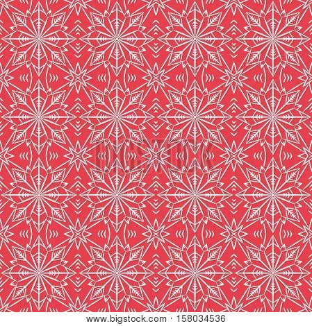 Red christmas background with seamless pattern. Ideal for printing onto fabric and paper or scrap booking.Vector