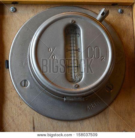 ILLUSTRATIVE EDITORIAL.Vintage Soviet military meter of Carbon Dioxide in submarines and bunkers GMU-2.November 22,2016,Kiev, Ukraine