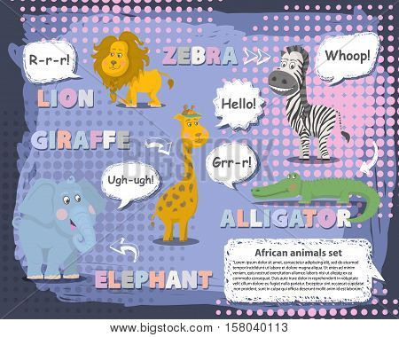 African animals set with talking bubble , voice and name.Vector animals character .Wild cute animals cartoon collections vector. Zoo animals set mammal flat vector illustration.African animals.Wildlife