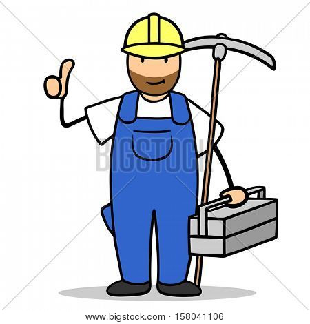 Happy cartoon blue collar worker holding thumb up