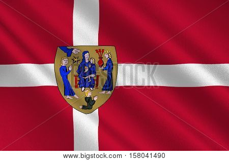 Flag of Ringsted is a municipality in Denmark in Zealand Region. 3d illustration