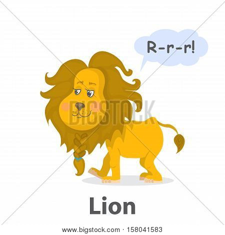 Lion vector illustration.Cartoon cute lion with isolated on a white background.Cheerful king of beasts with speech bubble.From the series what the say animals.Zoo or jungle animal lion