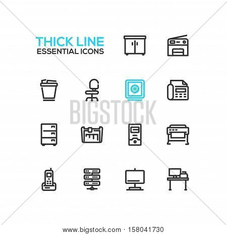 Office Supplies - modern vector plain simple thick line design icons and pictograms set. Locker, copier, chair, safe, fax, trash basket, cabinet, computer, plotter, cutter, phone, server work place display