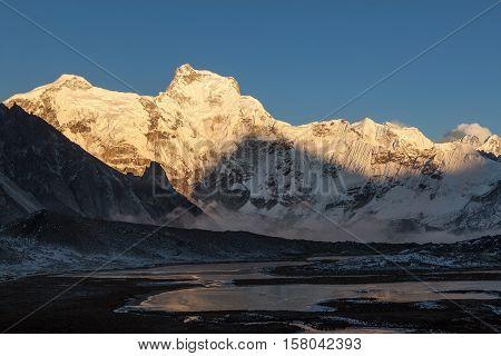 Amazing Mountain Cholatse Landscape In Himalayas, Nepal. Beautiful Highlands Scenery Of The Mountain