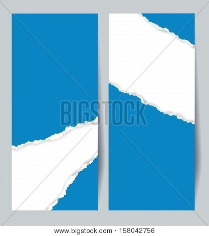 Curl of blue paper. Torn paper. Infographics elements in the form of paper tape for various purposes. Vector illustration. Isolated on blue vertical background Curl of blue paper. Vertical background