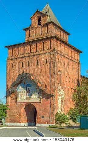 Kremlin tower and gate in old russian town Kolomna