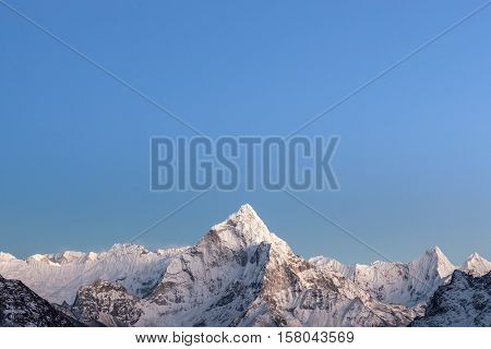 Early Morning Lights Over The Mountain Ama Dablam Summit In Himalayas, Nepal. Highlands Scenery Of T