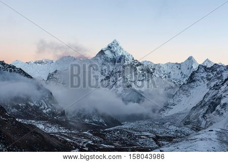Early Morning View Of Mountain Ama Dablam Summit On The Everest Base Camp Trek In Himalayas, Nepal.