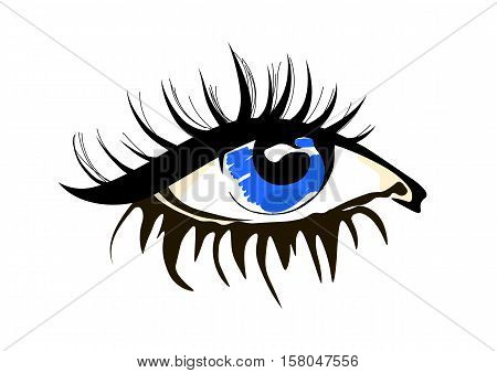 Eye vector sketch in fashion style on white background.  Design concept for optical, glasses shop, oculist, ophthalmology, makeup stylist, search,  research.