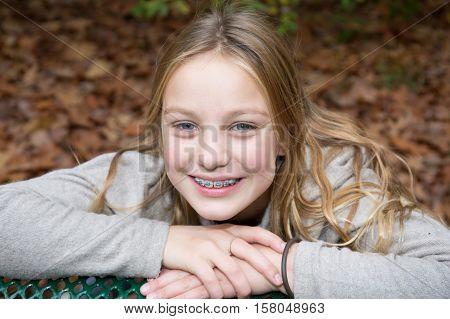 Beauty School Aged Blond Girl In Beauty Autumn Park