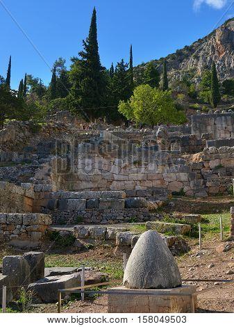 Navel Stone In Delphi, Greece