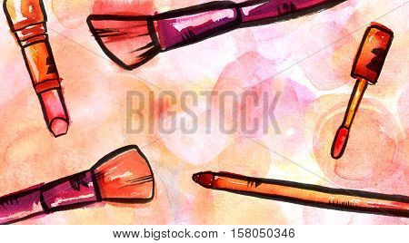 Watercolor and ink makeup brushes, lip gloss, lipstick, and pencil on a pastel pink background. A horizontal template for a makeup artist's business card or flyer design