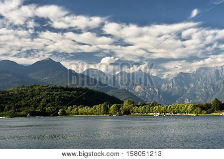 Colico (Lecco Lombardy Italy) and the lake of Como (Lario) at summer