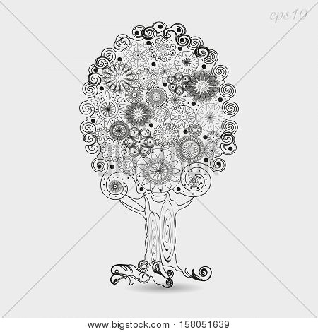 Tree Ornament graphics Drawing abstract design author krone flowers roots curl handmade openwork pattern plant svol line white background black stock eps10 vector illustration