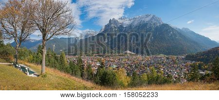Beautiful Lookout Point With Benches, Above Tourist Resort Mittenwald, Bavaria