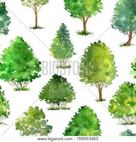 seamless pattern with watercolor drawing trees and grass, green foliage, abstract nature background, forest template, hand drawn illustration