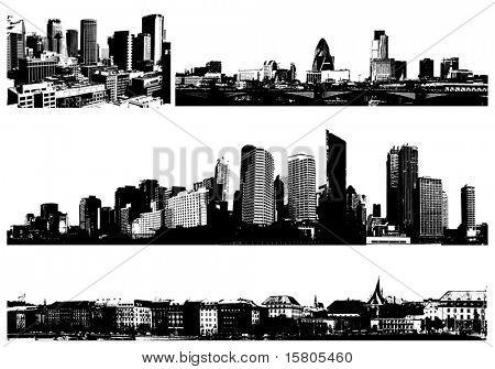 Ciudades de panorama de blanco y negro. Vector art