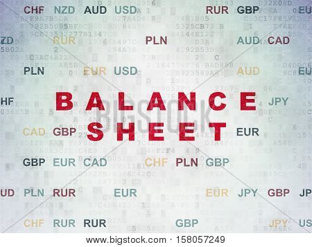 Currency concept: Painted red text Balance Sheet on Digital Data Paper background with Currency