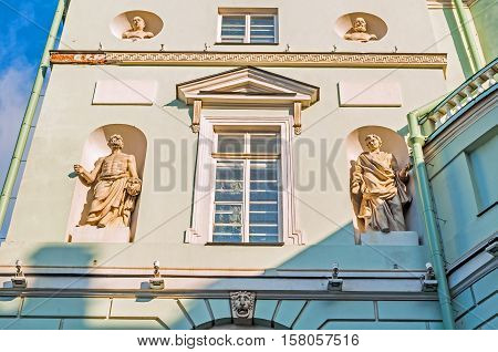 ST PETERSBURG RUSSIA - OCTOBER 3 2016. The first Winter Palace of Peter I - Hermitage Theatre. It was the theatre for court theatrical performances. Closeup of sculptures at the building