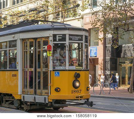San Francisco CA USA october 22 2016; Italian Tram moving in San Francisco