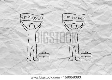 Employed And Job Seeker Men With Banners