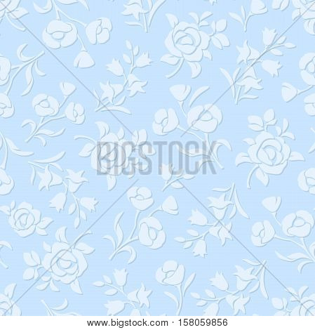Vector illustration of seamless blue embossed floral pattern.