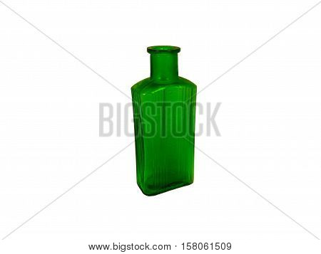 Antique green ribbed glass poison bottle dug up from a disused Victorian tip in Cardiff, Wales