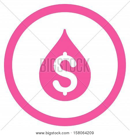 Money Drop vector rounded icon. Image style is a flat icon symbol inside a circle, pink color, white background.
