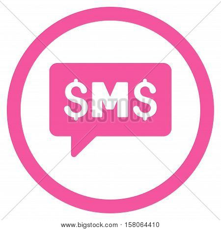 SMS Message vector rounded icon. Image style is a flat icon symbol inside a circle, pink color, white background.