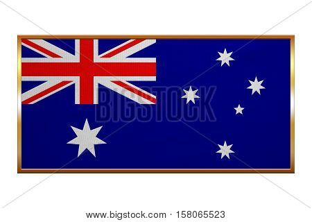 Australian national official flag. Patriotic symbol banner element background. Correct colors. Flag of Australia golden frame fabric texture illustration. Accurate size colors