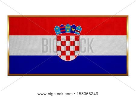 Croatian national official flag. Patriotic symbol banner element background. Correct colors. Flag of Croatia golden frame fabric texture illustration. Accurate size colors