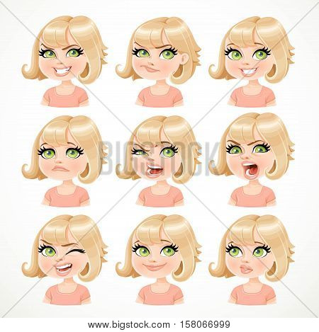 Beautiful cartoon blond girl portrait of different emotional states isolated on white background